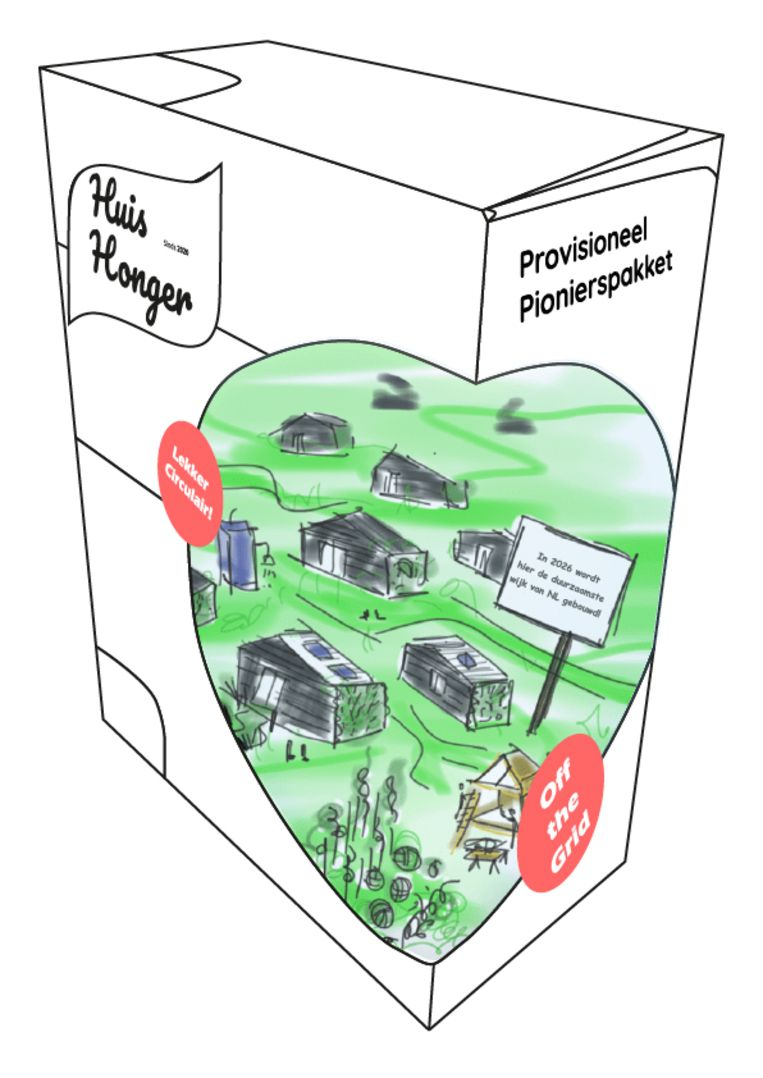 De Huishongerpakketten bevatten  oplossingen voor dakloze jongeren.  Beeld Joes + Manon  Social Design Studio