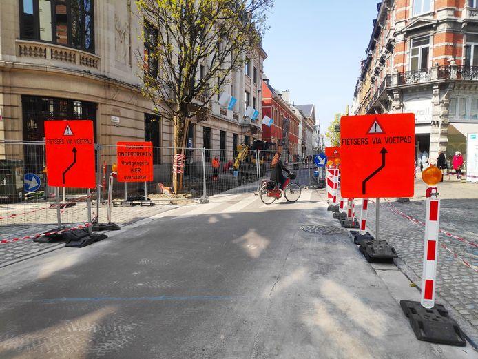 Werken in de Voldersstraat in Gent