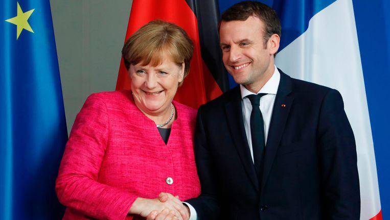 'Het Europa dat Macron voor ogen heeft gaat Duitsland in eerste instantie meer geld kosten, daar windt de Franse president geen doekjes om.' Beeld afp
