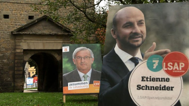 Verkiezingsaffiches voorafgaand aan de vervroegde stembusgang zondag in Luxemburg. Beeld ap