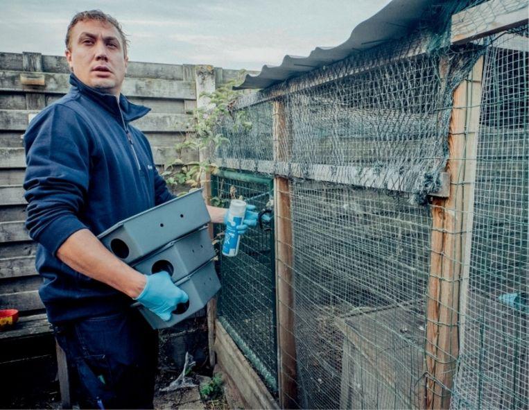 Jesse Salaets: 'Ik heb ooit in een houtmijt een nest gevonden dat gemaakt was van honderden zakjes rattenvergif – in plaats van ervan te eten, hadden die beesten ze gebruikt als nestmateriaal.'  Beeld