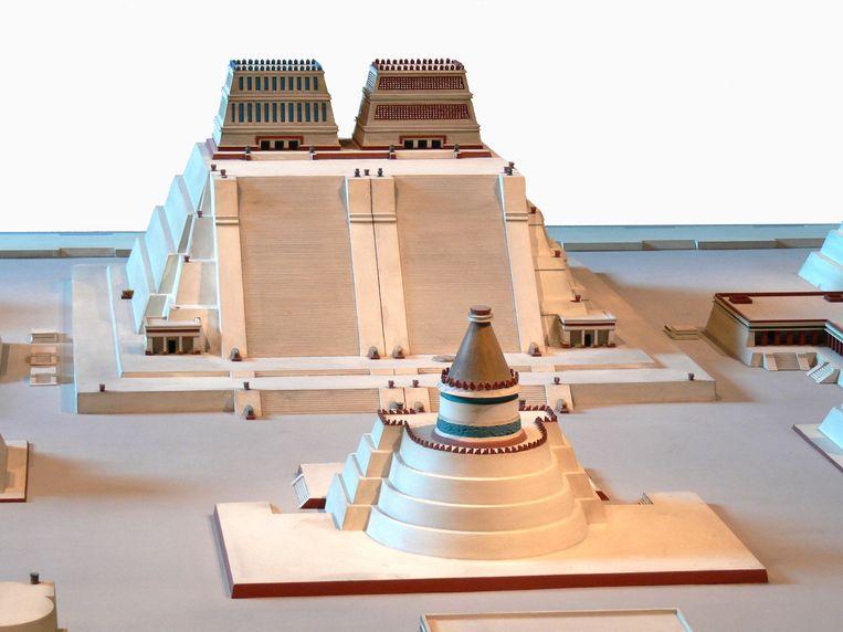 Model van de Templo Mayor, het heilige hart van het Azteekse rijk. Beeld