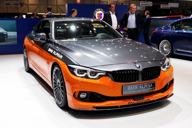 De BMW Alpina B4 S Edition 99 wordt gepresenteerd tijdens de 89ste Geneva International Motor Show in Geneve, Zwitserland. Beeld EPA