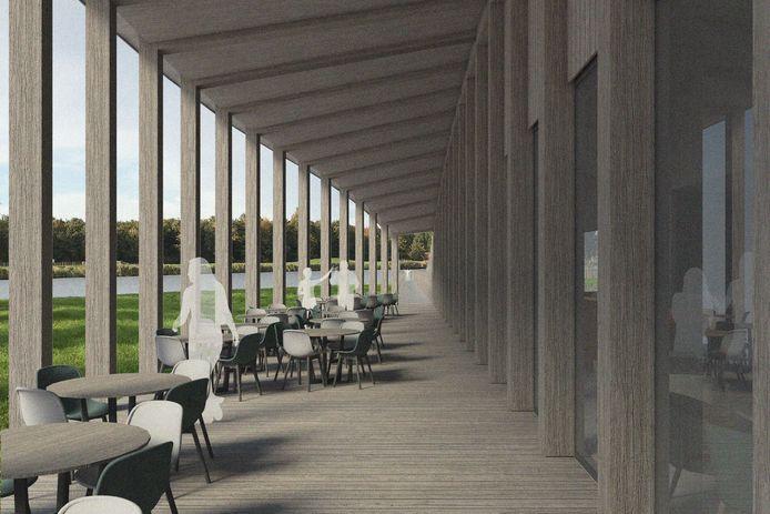 Onder de veranda van Paviljoen Zwemlust in Vollenhove.