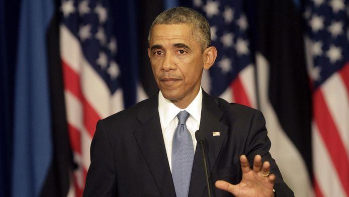 De Amerikaanse president Barack Obama in Tallinn, Estland.