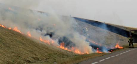50 meter zeedijk in brand bij Schore