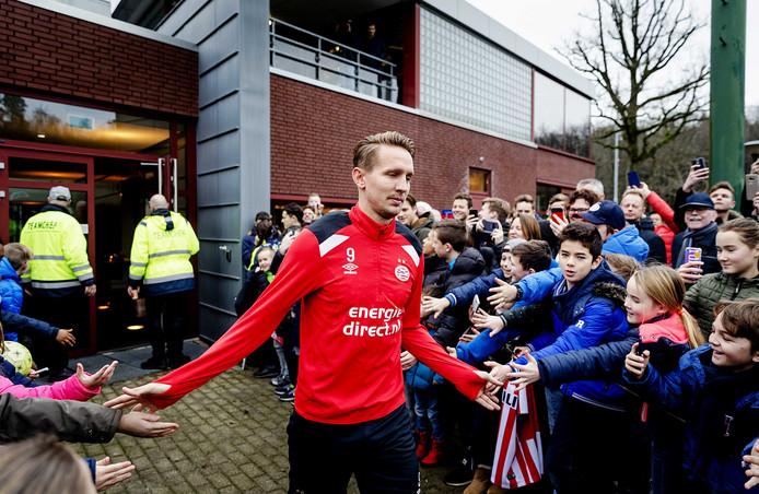 Luuk de Jong donderdag in Eindhoven, bij de eerste training van PSV in 2018.