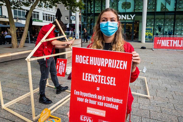 Een campagne voor afschaffing van het leenstelsel onder de naam #NietMijnSchuld.  Beeld Marcel Krijgsman / Hollandse Hoogte