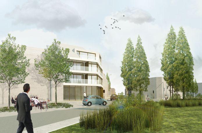 Een conceptbeeld van residentie White Corner, op de hoek van het Stationsplein en de Gentstraat in Ingelmunster.