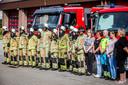 De brandweermannen hielden één minuut stilte.