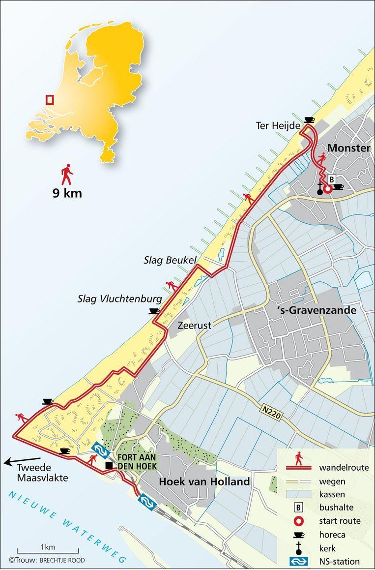Route voor wandeling 'Strand Delfland' (BRECHTJE ROOD, TROUW) Beeld