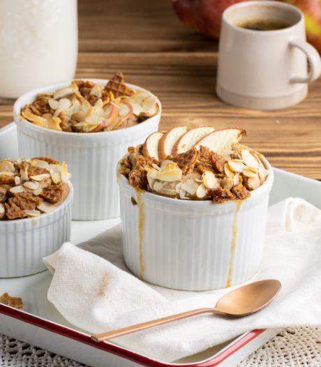 Wat Eten We Vandaag: Appeltaart baked oats met stroopwafel