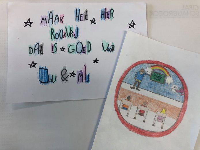 Leerlingen uit het VBS Trip Trap Kortenaken en VBS De Zonnebloem in Waanrode maakten tekeningen naar aanleiding van de campagne.