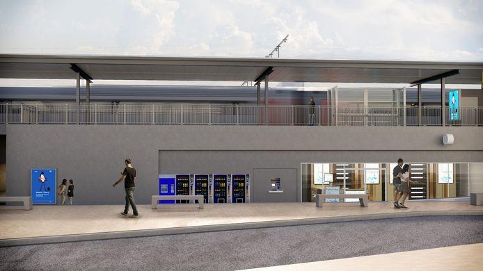 Toekomstbeeld van het nieuwe station in Denderleeuw.