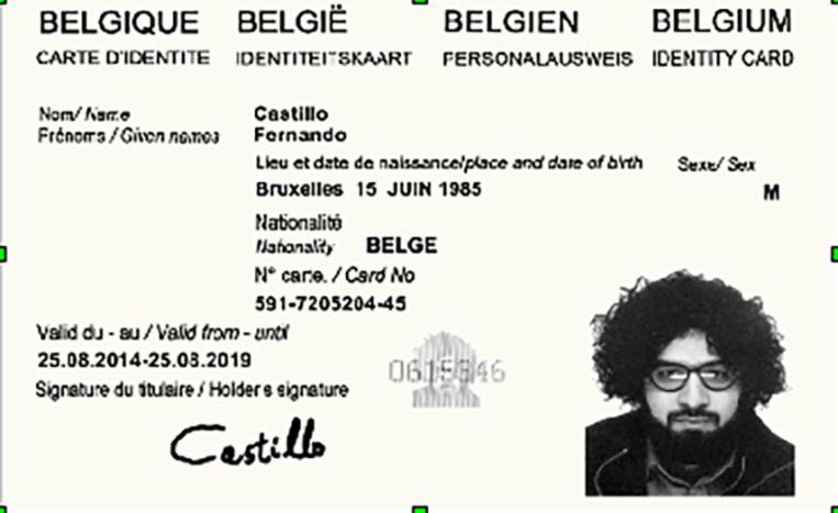 Een vervalste identiteitskaart waarmee Mohamed Bakkali woningen huurde die als safehouses konden worden gebruikt.  Beeld RV Minstère de la Justice