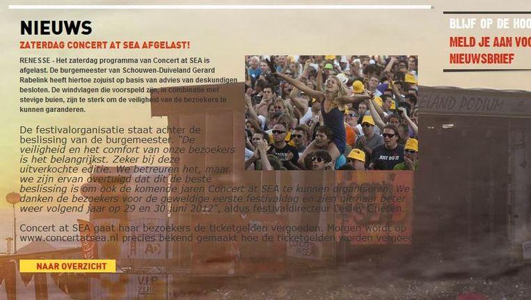 Mededeling dat Concert at SEA is afgelast op de website van het festival (screenshot) Beeld null