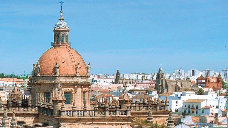 De kathedraal van Jerez de la Frontera, gezien vanuit het kasteel (Alcazar).