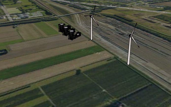 Gewone windmolens en trechterwindmolens bij Kijfhoek in Zwijndrecht.