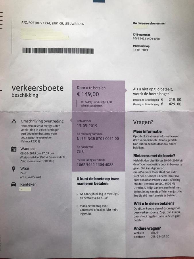 De gewraakte boete van 149 euro voor de familie Kats uit Driebergen.