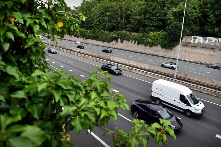 Snelweg A27 met op de achtergrond Landgoed Amelisweerd. Beeld Marcel van den Bergh /  de Volkskrant