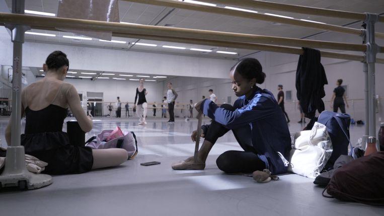 Een donker gepoederde spitz aan de voet van danseres Sebia Plantefève-Castryck. Beeld RV