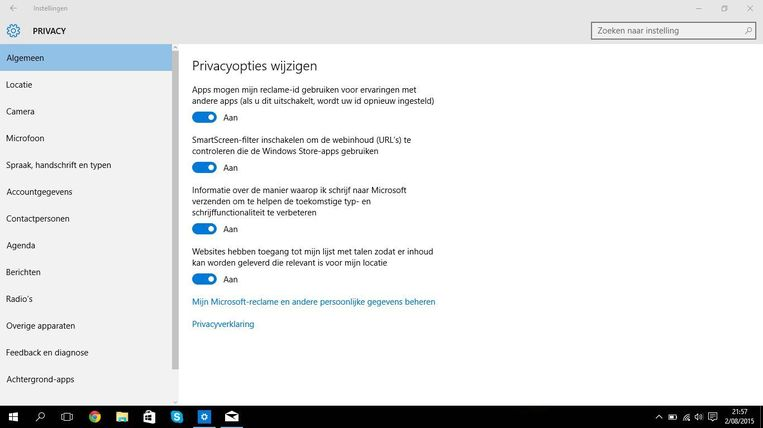 De privacyopties in Windows 10.