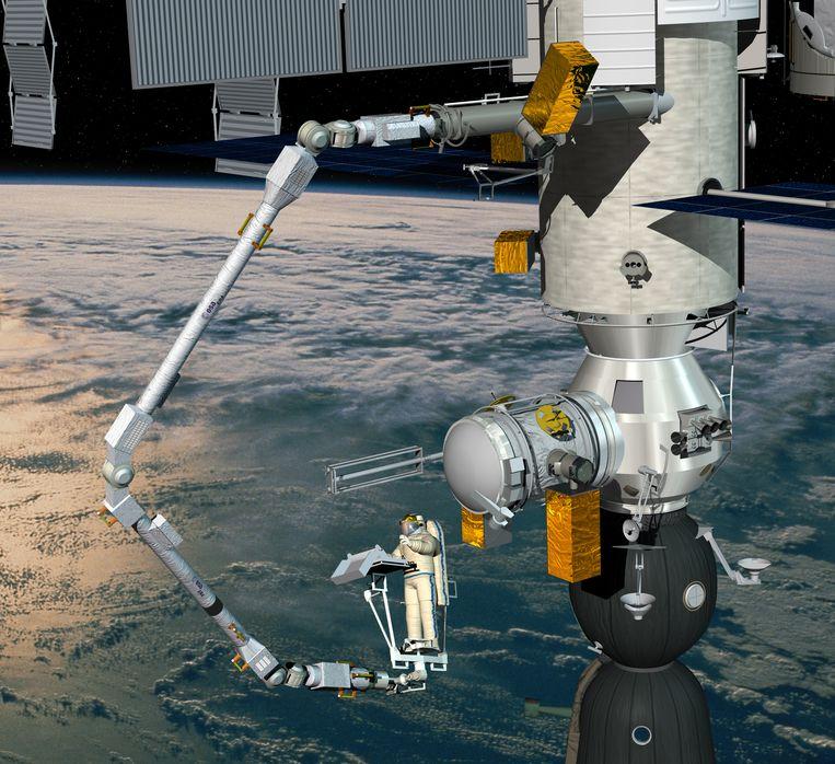 Een impressie van hoe de robotarm aan ruimtestation ISS is gekoppeld.  Beeld ESA