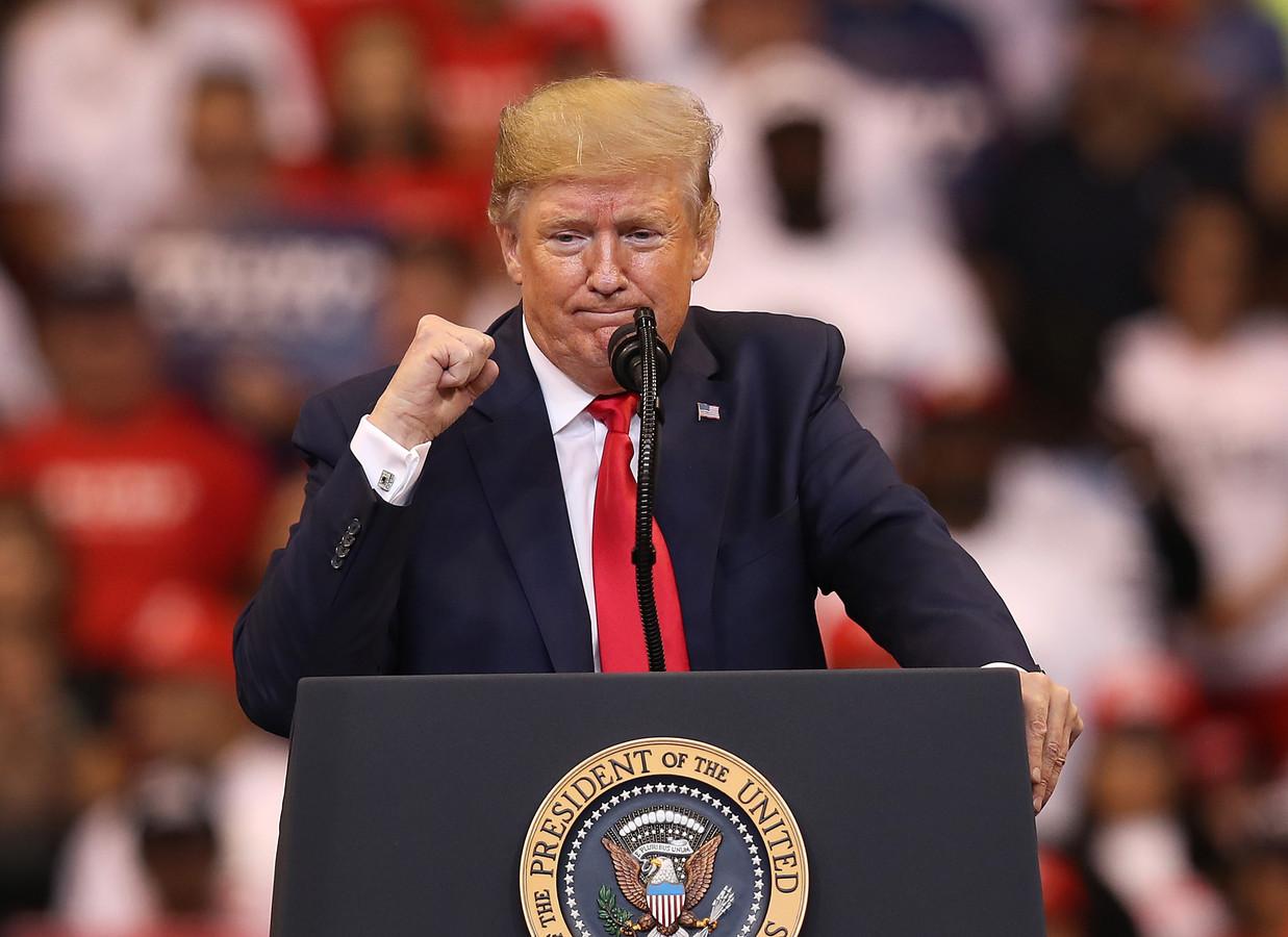 De Amerikaanse president Donald Trump tijdens een verkiezingsrally.
