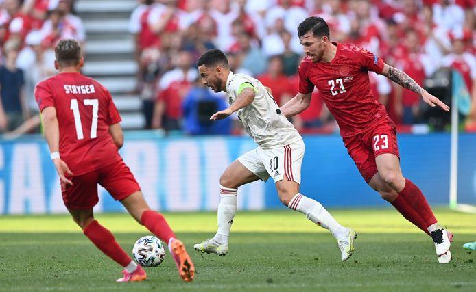 Eden Hazard in actie tegen Denemarken.