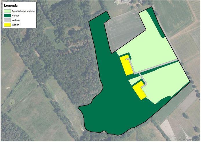 In het midden van het toekomstige landgoed worden straks twee grote villa's gebouwd.