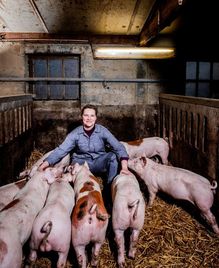 Mieke Verniest: 'Op mijn 17de deed ik vakantiewerk bij een grote varkenshouder. Ik mocht er voor de biggetjes zorgen en wist: dit wil ik mijn hele leven doen.' Beeld Wouter Van Vaerenbergh