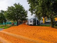 Vrachtwagen met wortels gekanteld op A58 bij Bavel, weg is weer vrij