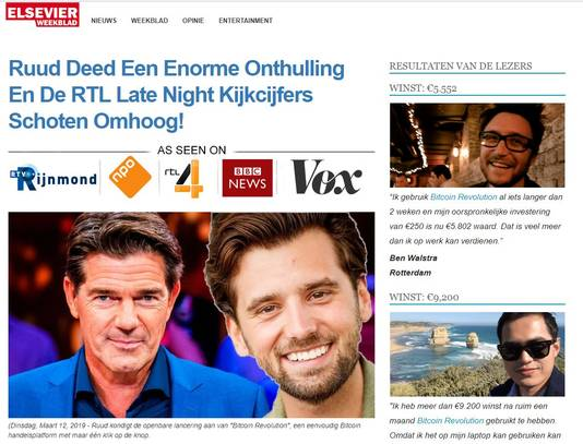Screenshot van het nep-artikel.