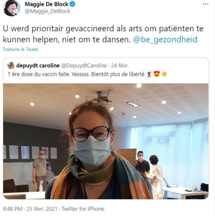 Cette réponse de Maggie De Block a depuis été supprimée
