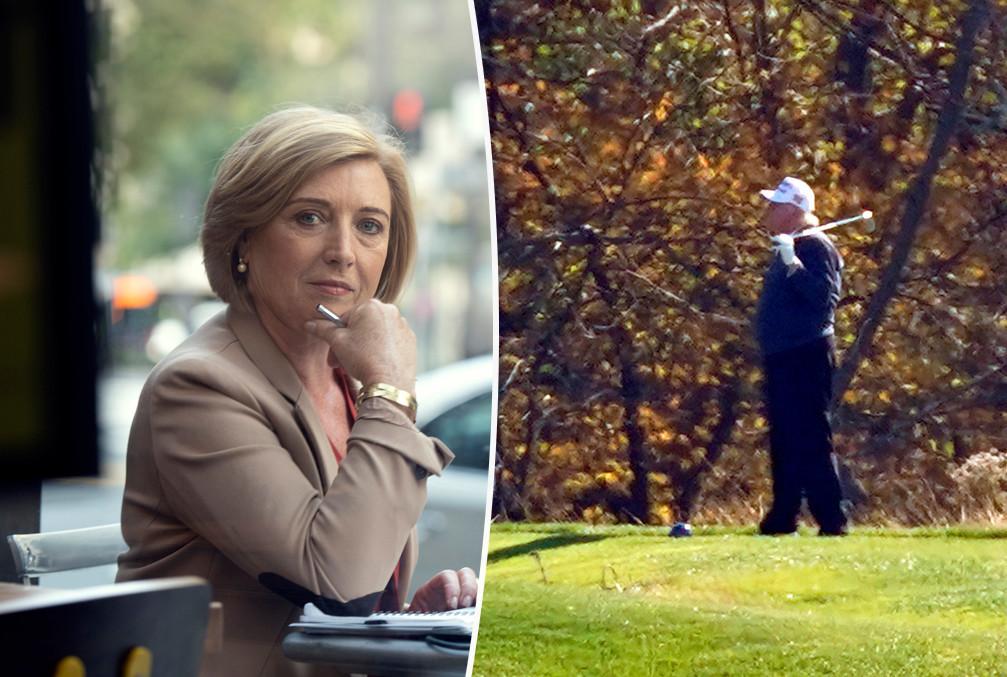 Greet De Keyser. Rechts: Trump op het golfterrein.