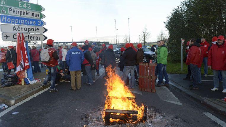 Een stakingspiket aan de luchthaven van Charleroi tijdens een van de drie provinciale actiedagen afgelopen maand. (Archieffoto)