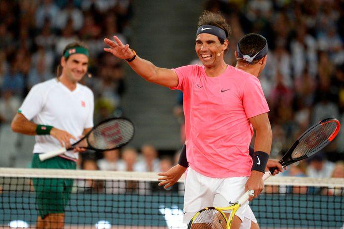 Roger Federer, Rafael Nadal (foto), komiek Trevor Noah en Bill Gates spelen voor 48.000 mensen in Kaapstad.