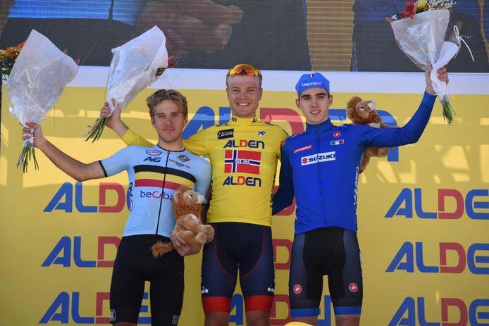 Tobias Foss, vainqueur sortant, avec Giovanni Aleotti et Ilan Van Wilder.