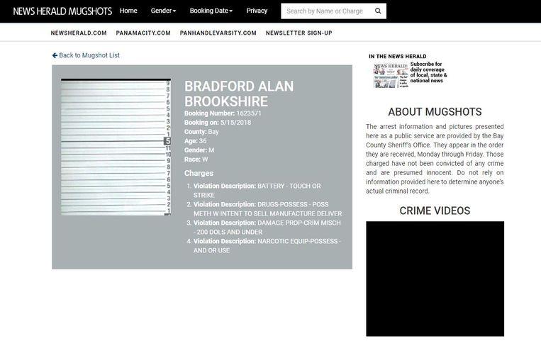 Een pagina op de mugshotswebsite van een lokale Amerikaanse krant, de News Herald uit Panama City, zónder verdachte. Beeld News Herald