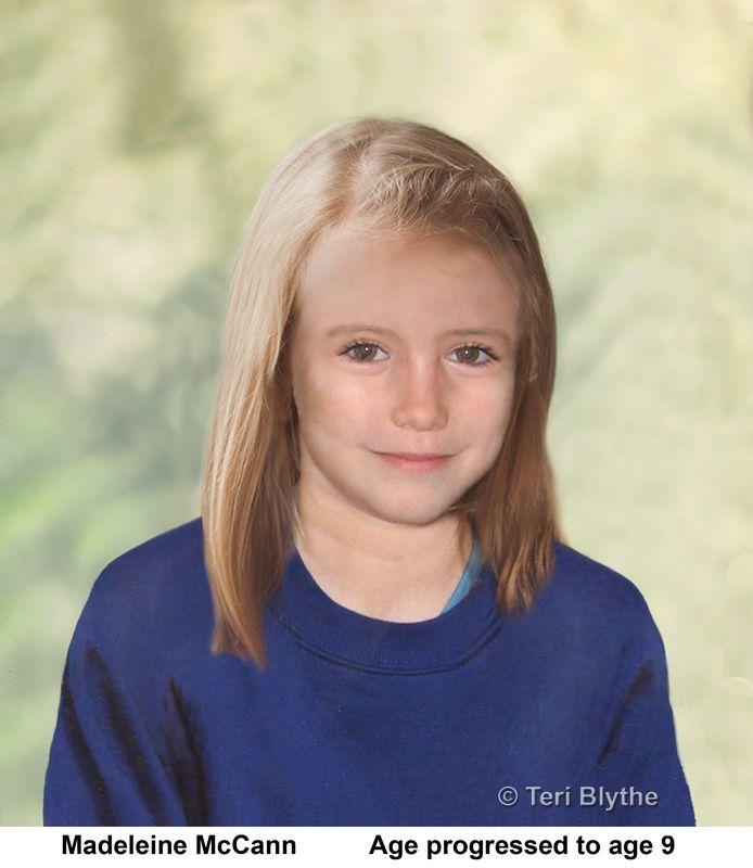 Om het onderzoek te helpen werden foto's van Maddie 'verouderd': deze foto werd verspreid in 2012 en toont hoe ze er op 9-jarige leeftijd uit zou kunnen zien.
