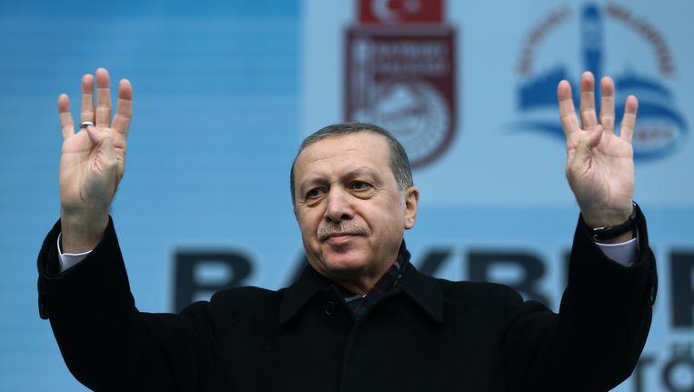 President Erdogan gisteren in Bayburt. Beeld ap