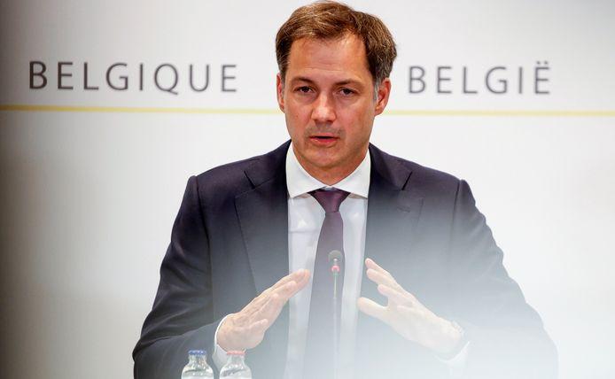 Le Premier ministre Alexander De Croo en conférence de presse.