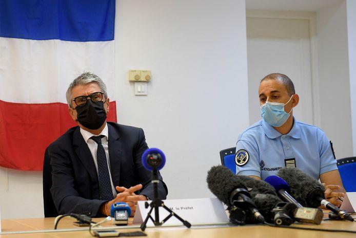 Le préfet des Alpes-Maritimes, Bernard Gonzalez, et le commandant de la gendarmerie Nasser Boualam