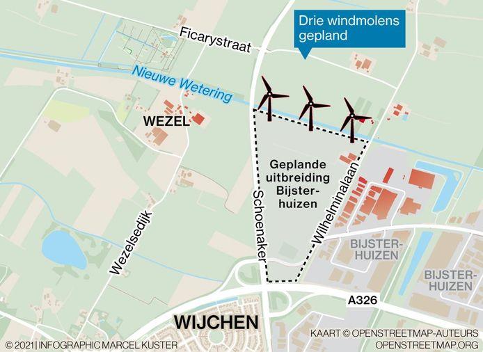 De beoogde plek voor de windmolens op Bijsterhuizen.
