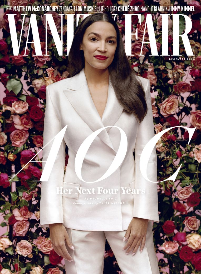 December 2020, Alexandra Ocasio-Cortez op de cover van 'Vanity Fair', gefotografeerd door Tyler Mitchell, kleding Aliétte. Beeld  Vanity Fair