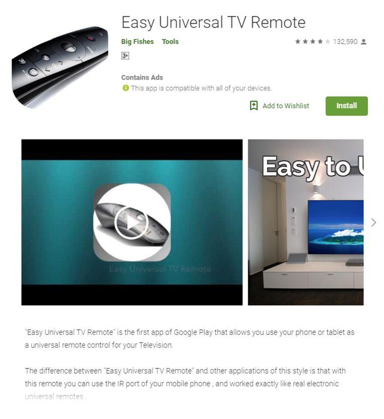 Easy Universal TV Remote, de app die maar liefst vijf miljoen keer werd gedownload.