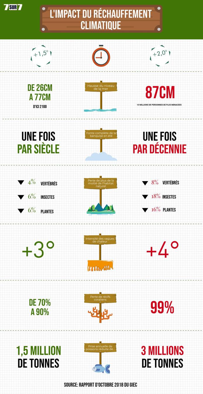 Synthèse du rapport du GIEC. (Infographie réalisée par 7sur7)