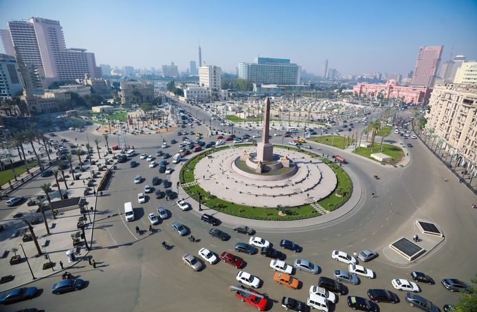 Het Tahrirplein ligt er nu vredig bij.