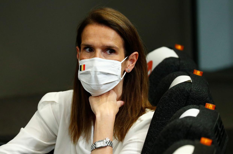 Premier Sophie Wilmès op de persconferentie. Beeld EPA