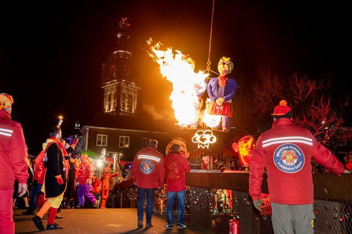 Traditioneel wordt carnaval in Breda afgesloten met de verbranding van Kiske en Mieske, zoals vorig jaar (foto). Dit jaar gebeurt dat niet.